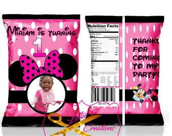 Minnie Mouse Inspired Chip Bags,Minnie Mouise favor bags, Minnie treat bags (set of 12)