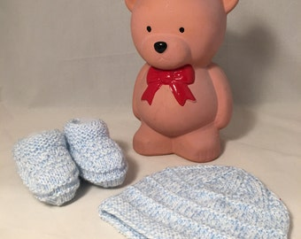 Set of knitted hat and booties for your baby boy