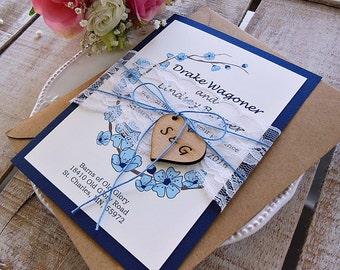 Navy Blue Wedding Invitation Navy Wedding Invite Rustic Wedding Suite Navy  Blue Wedding Suite Navy Blue