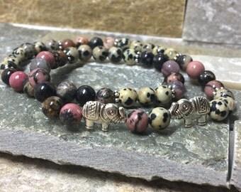 Yoga strap elephant wrist mala bracelet elephant Jasper rhodonite bracelet