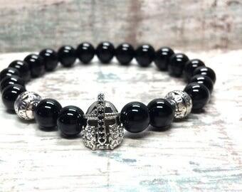 Spartan helmet Bracelet Onyx men bracelet