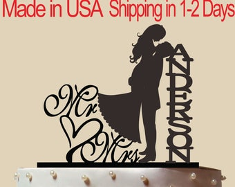 Custom Mr & Mrs Cake Topper, Personalized Cake Topper, Wedding Cake Topper,  Bridal Shower Topper, Wedding Decoration, Silhouette,  CT142