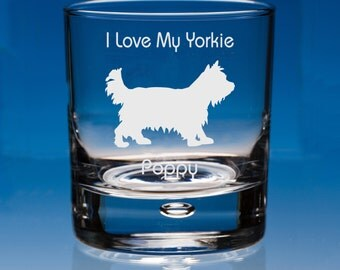 Yorkshire Terrier  Whisky Glass Personalised Engraved Gift, Dog Lover Gift, Yorkie Gift, Yorkie Dog Whiskey Glass Gift, Yorkie Lover Gift