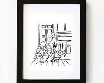 Sunday afternoon, Illustration Art Print, Room decor, Gifts For Her, Wall Art, Poster
