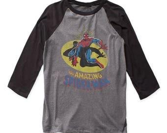 Spider-Man Spidey Sense Soft 30/1 Men's Cotton Fitted Baseball Jersey (SMANBJ01) Heather