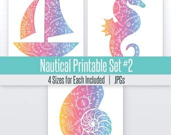 Sail Boat, Shell, and Sea Horse Nautical Art Set#2 | 4 Sizes | Printable |  Art