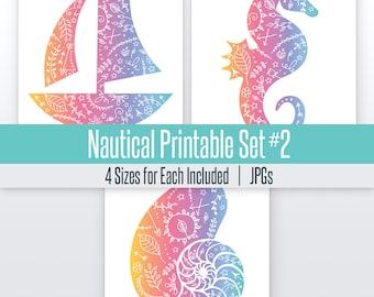 Sail Boat, Shell, and Sea Horse Nautical Art Set#2 | 4 Sizes | Printable | Lula Art
