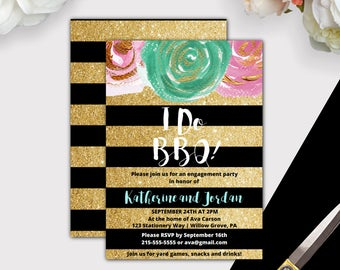 Gold and Black I Do BBQ Invitation Printable, Glitter I Do BBQ Engagement Party Invites, Engagement BBQ Invitation Template Download K004