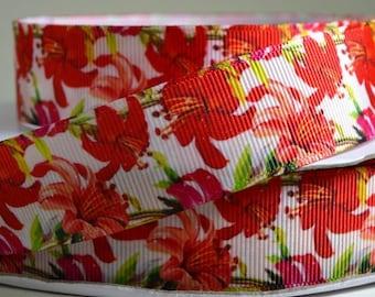 "1"" Fuchsia Flowers - Floral Grosgrain Ribbon"