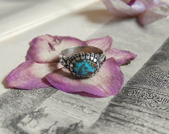 Sterling silver ethnic vintage ring with afghan turquoise, women or men ring, handmade