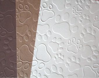 Embossed Pawprint Cardstock/ Embossed Cardstock/ Pawprint Cardstock/ embossed pawprints/ animal cardstock/ pawprints/ embossed