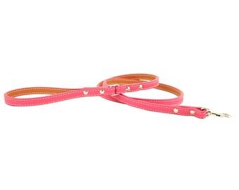 Italian Leather Dog Leash - Pink