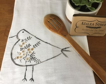 Little Bird  Hand-Printed Tea Towel - Floral Collection