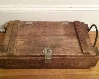 Wooden Ammo Box/Wooden Explosives Box/Wooden Box/Vintage Box/Military Box/Wooden Military Box/Vintage Military Box/Old Box/Ammo Box/Mortar