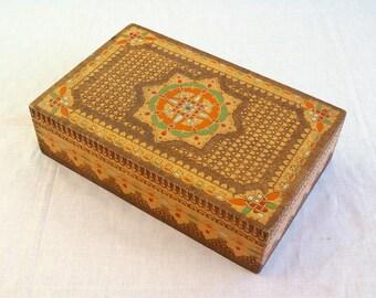 Vintage wood box- Pyrography box-Memory box- Jewelry box- Old wood box