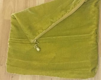 Lime Green Velvet Foldover Clutch