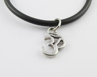 Aum Om Symbol Charm Pendant Choker Necklace Meditation Black Cord 45cm