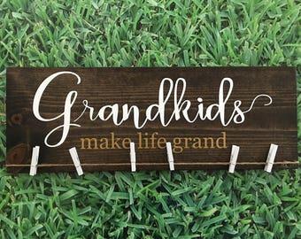 Grandkids Make Life Grand/Grandchildren/Grandparents Gift/Photo Display/Grandma Gift/Grandpa Gift/Pregnancy Reveal