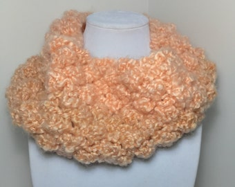 Coral Stripes Cowl - Handmade - Knitted - Lion Brand, Homespun Thick & Quick