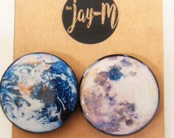 Earth vs Moon earrings