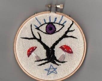 Occult Eye embroidery hoop, folk horror, needlepoint crewel art, gothic outsider witchcraft occult tree pentagram, mushroom, magic, eye