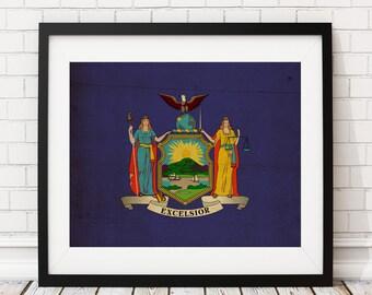 New York Flag Art, New York Flag Print, Flag Poster, State Flag, Flag Painting, Watercolor Flag, New York Art, New York Gifts, NYC, NY Art