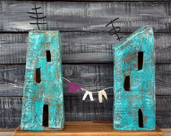 New Home Gift, Little Houses Art, Housewarming Gift, Little Houses Love, Papier Mache Art, Paper Sculpture, Unique Art Decor