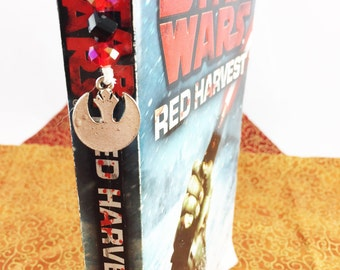 Rebel Insignia, Star Wars, Red Crystal, Matte Black Beads on Bamboo Cord | Geek Gift | Nerd Gift | Birthday | Book Thong | Hand Made Gifts