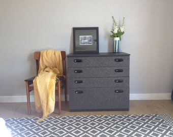 Mid Century Modern Schreiber Upcycled Painted Black and Silver Chest of Drawers