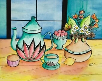 Original Watercolor, Still Life Painting, Tea Party, Room Decor, Kitchen Wall Art, A Cup of Tea, Housewarming Gift