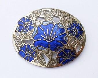 Vintage 1980s Blue Enamel Flower Brooch by Fish, Oval Guilloche Jewellery
