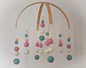 Felt Ball Mobile (Large 40cm) - New Baby / Baby Shower Gift – Nursery Decoration – Baby Girl - Pink, Teal & White
