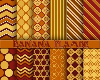 banana flambe, dessert digital paper, scrapbook, background