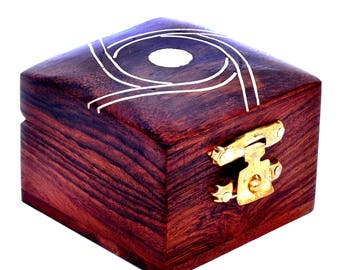 Hashcart Handmade & Handcrafted Wooden Jewellerry Storage Organizer/Trinket Jewellerry Box with Traditional Design and Brass Inlay Work
