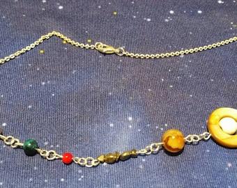 Genuine stone solar system necklace