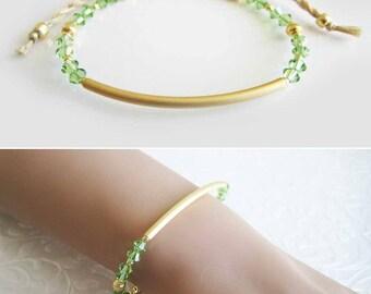 Personalized friendship bracelet, Bridesmaid bracelet gift, Gold plated bar bracelet, Peridot bracelet, Minimalist bracelet, Dainty bracelet