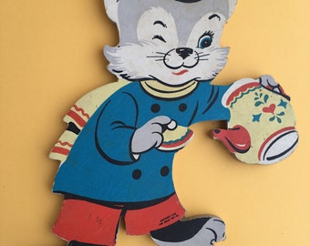 Dolly Toy Co. Three Kittens Wall Hanging / Nursery Decor / 1950s