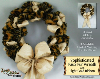 """Faux Leopard/Cheeta Fur Wreath with Light Gold Sparkle Ribbon - INCLUDES 1 Matching Fur Ribbon Roll - 14"""" x 24"""" approx. - One of a Kind"""