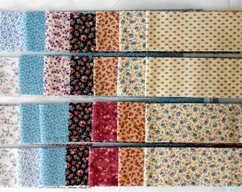 "Jelly Roll -40ct. Precut 2.5"" strips/tiny floral/flowers/vines/calico/brown/blue/pink/purple/peach/white/tan/green/lavender (#JR4)"