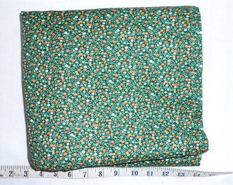 Fabric -5 3/4yd piece Old Fashioned Tiny Floral/dark green/mint or vintage green/orange/white/yellow gold flowers/calico (#yd050)