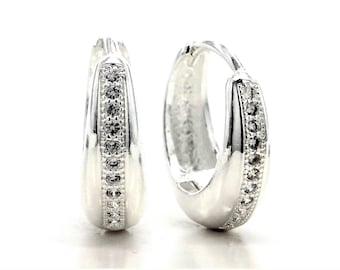 Genuine silver earrings, Hallmarked sterling silver hoop, Silver clear white gemstones, Real handmade, 925 Sterling silver, Black gift box