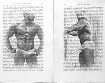 Erotic Gay poster 2 pages / Muscular mens / Printing Antique  German book  decor interior picture ART erotic