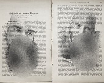 Gay erotic poster  / male love  / 2 pages printing Antique  book  decor interior picture ART erotic