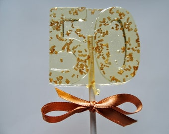 8 Number 50 Lollipops 50th Birthday Golden Wedding Anniversary Lollipops Number 50 Party Favors Candy