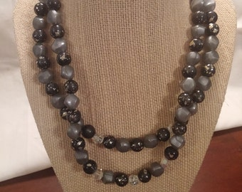16 inch Signed Coro Double Strand Glass Bead Vintage Necklace/Choker FREE SHIPPING