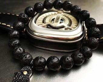 Hamsa Bracelet Volcanic Stone for Men | BraceletsDR