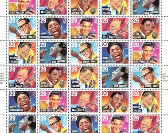 Rock and Roll Rhythm and Blues Postage Stamps Full Sheet Legends American Music Series