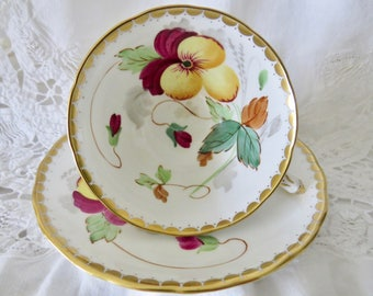 Tuscan Fine English Bone China Hand-painted Footed Teacup and Saucer Pansy Pattern 8361