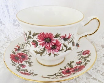 Royal Vale Pink Floral Tea Cup and Saucer, Bone China, Gift for Her