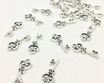BULK 10 Antique Key Charms Antique Silver Tone Double Sided